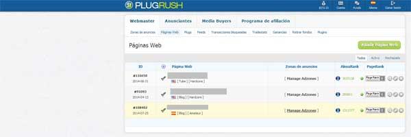 plugrush gestionar anuncios