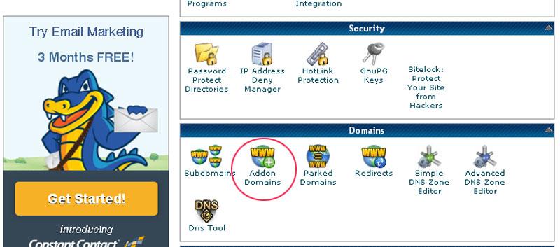 añadir dominios en hostgator